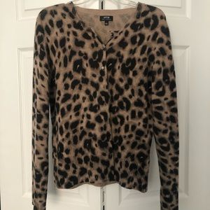 100% Cashmere Cardigan - Animal Print is IN